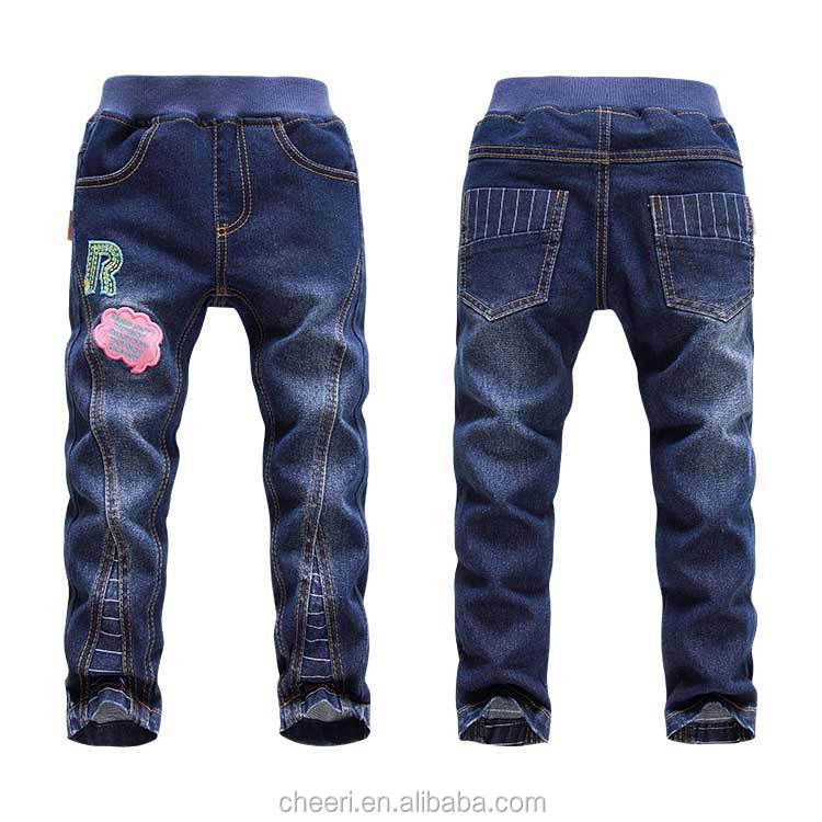 Latest High Quality Girls jeans pants Spring 2017 children's clothing jeans blue trousers casual pants Baby Children Pants