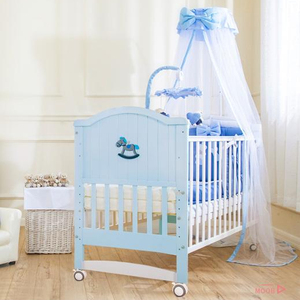 European style height adjustable New Zealand pine wood baby doll cot
