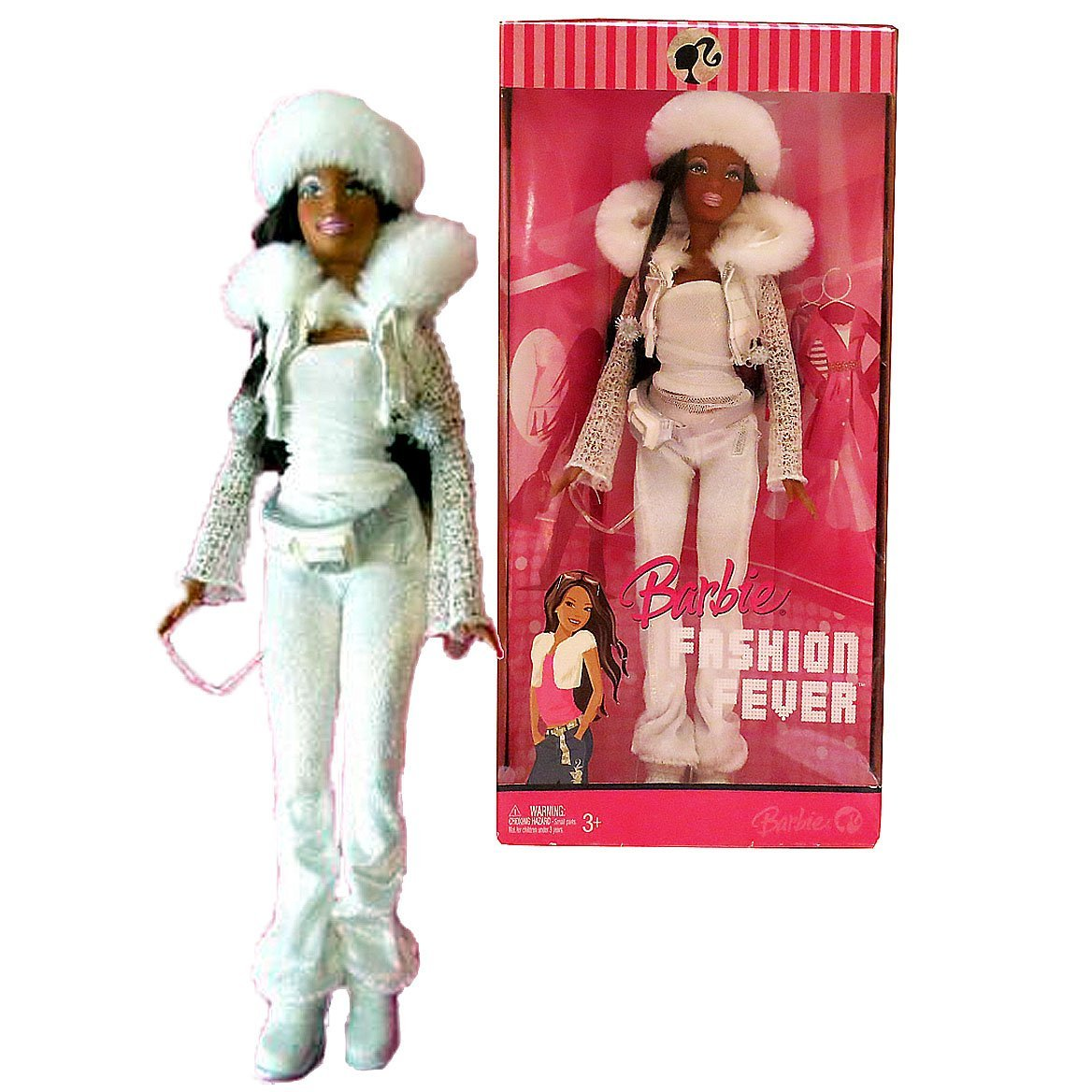 Mattel Year 2006 Barbie Fashion Fever Series 12 Inch Tall Doll Set - Sassy, Smart and Cool NIKKI (L3327) in White Jacket with Faux Fur Collar Plus Faux Fur Hat, Pocket Belt, White Velvet Pants, Shoes, Sunglasses and Purse