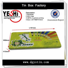 Hot sale rectangle metal tin pencil packing box with hinge