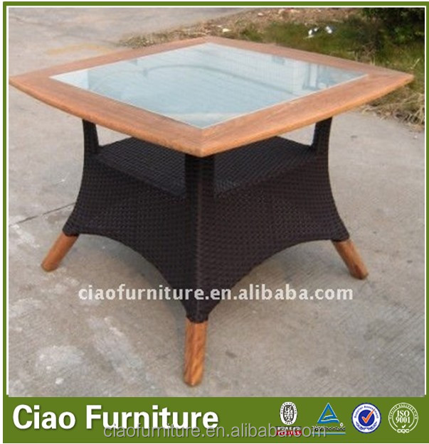 Patio rattan wicker wood garden mushroom table