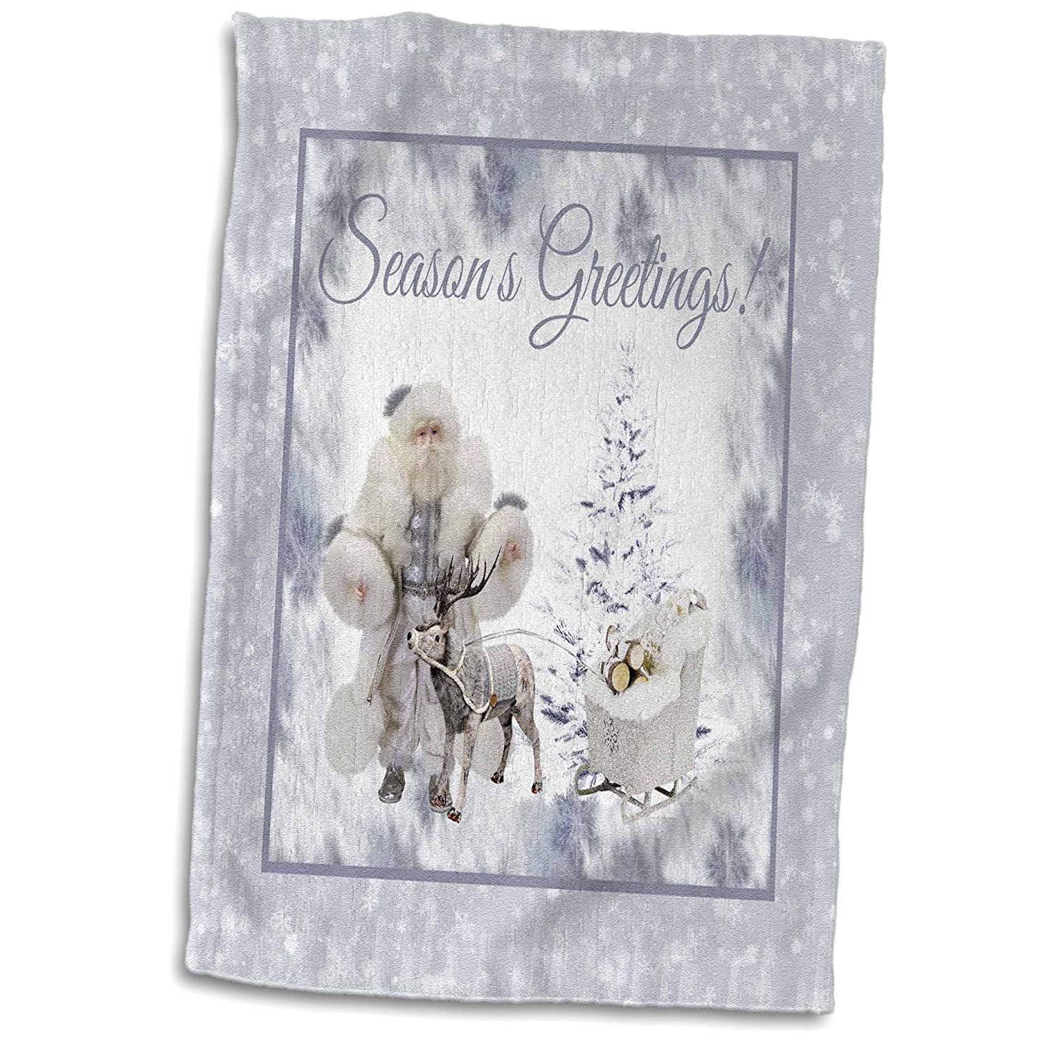 3dRose Beverly Turner Christmas Design - Santa Claus, Reindeer, Sleigh, Wood, Blue Snowflakes, Season Greetings - 15x22 Hand Towel (twl_267959_1)