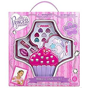 Princess Pretend Play, Fun, Colorful, Expressions Cupcake Princess Cosmetic Set- include lip gloss, eyeshadow and body glitter in a compact cupcake shaped box