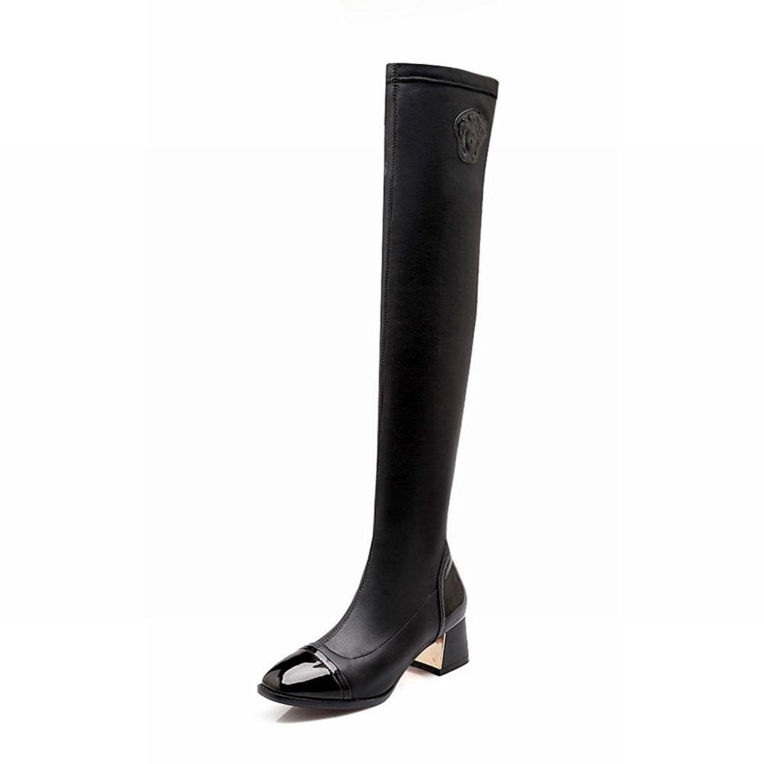6eceda382ed3a Get Quotations · Latasa Women's Fashion Elastic Slim Chunky Mid-heel Tall  Riding Boots, Casual Boots
