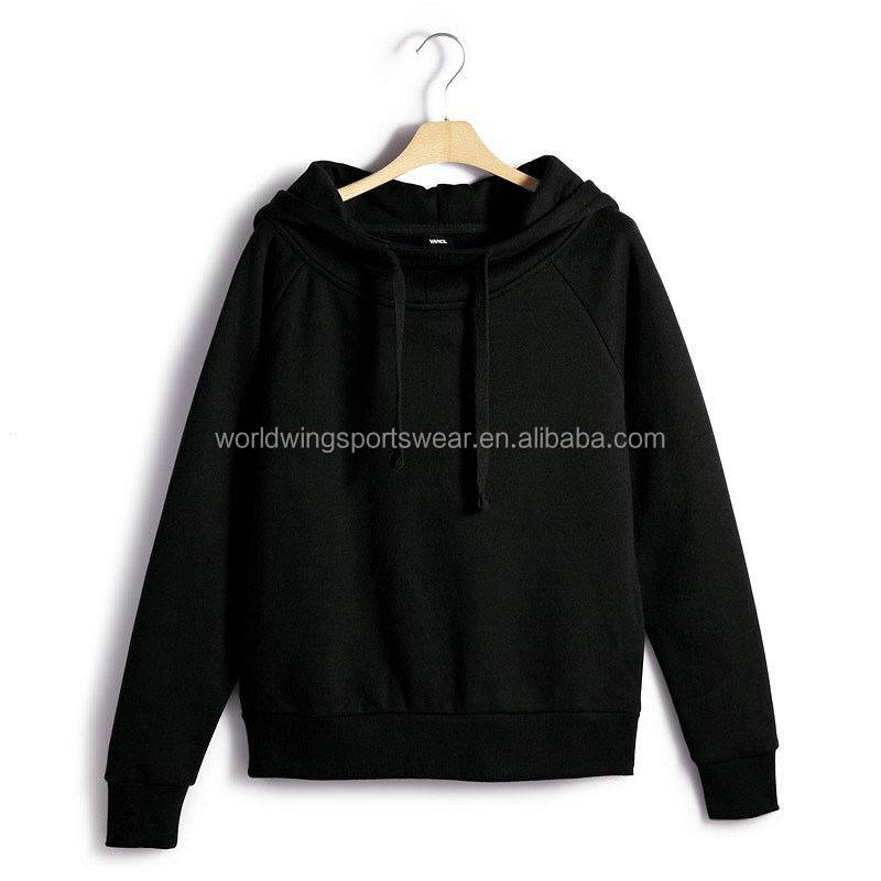 Mens custom plain black 80% cotton 20% polyester fleece reglan sleeves pullover hoodie