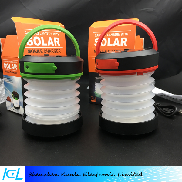 Portable Rechargeable Waterproof Solar Charger LED Camping Lantern