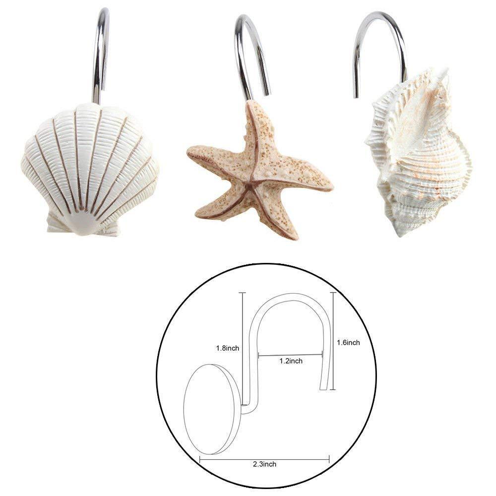 Get Quotations NEW 12 PCS DECORATIVE Seashell Shower Curtain Hooks Bathroom Beach Shell Decor