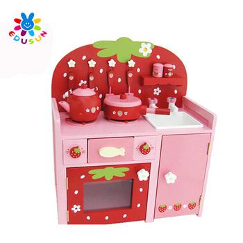 Wooden Toy Kitchen Set Children Best Birthday Gift Happy Kitchen