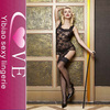 One-Piece low cut open bust Bodystocking Sexy netting black Lingerie fishnet bodystocking