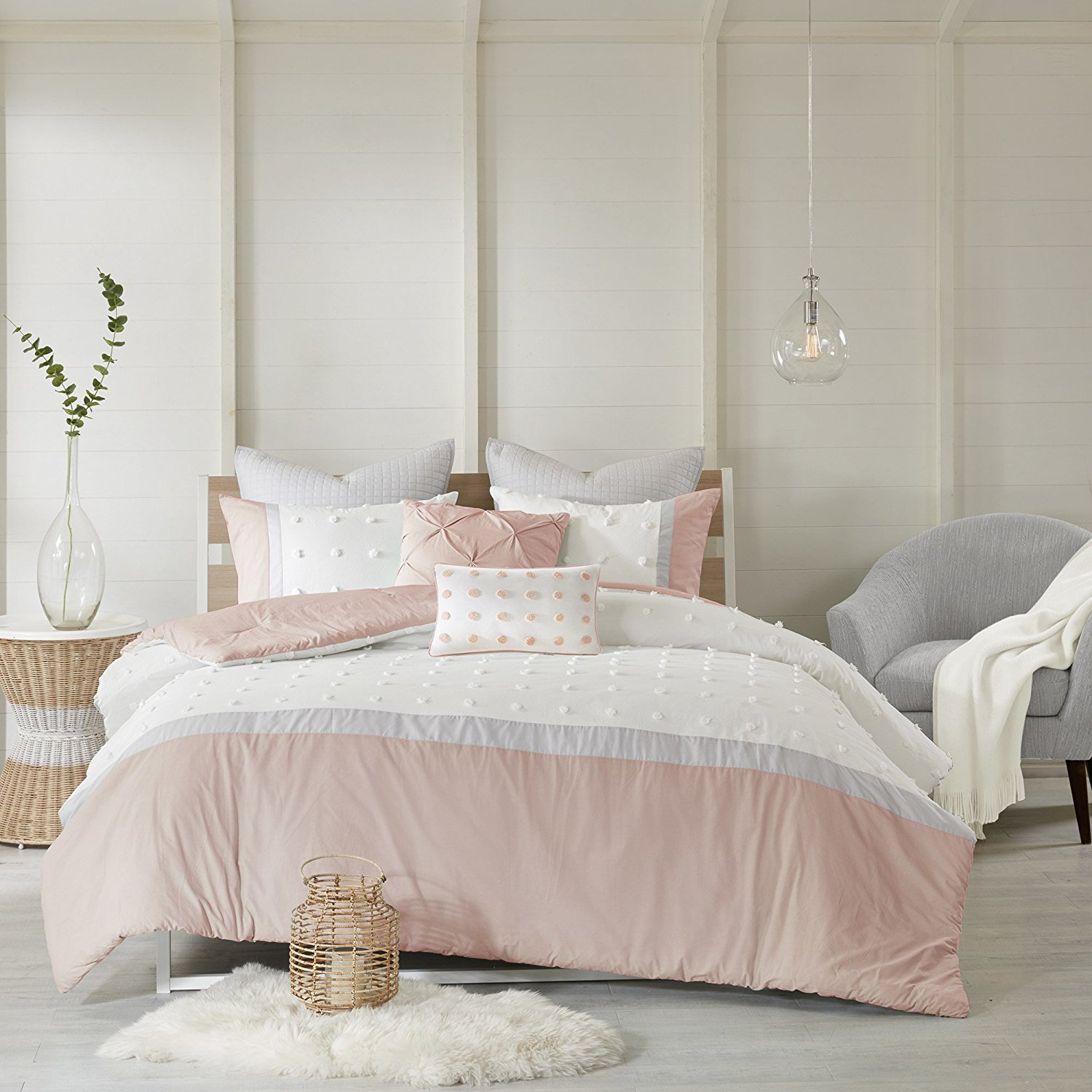 Buy 7 Piece Girls Light Pink Grey White Tufts Dot Stripe Themed Duvet Cover King Cal Set Girly Pretty Polka Dots Stripes Bedding All Over Small Circle Polkadot Dot Texture Striped Pattern
