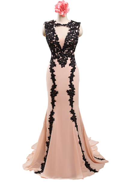 Real Sample Black Appiques Light Pink Mermaid Chiffon Long Prom Dressvestido Para Festa Vestidos De Vestido Longo Format,PD026