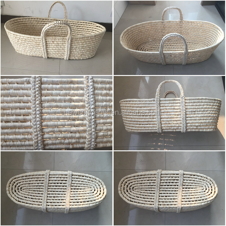 wholesale natural corn husk baby moses basket with fabric. Black Bedroom Furniture Sets. Home Design Ideas