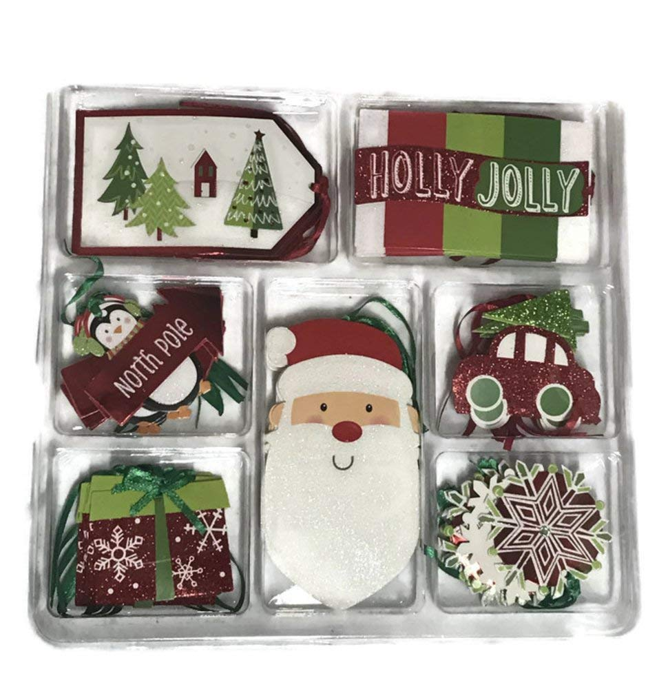 Christmas Gift Tags, 40 Deluxe Assorted Gift Tags With Santa, Snowman, Candy, Presents (Red And Green)