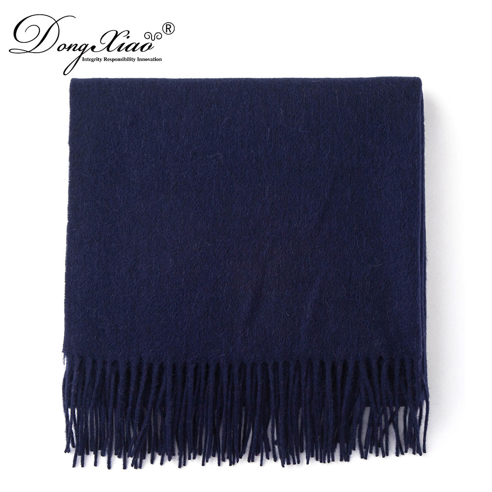 All Match Navy Blue Vintage Design Unisex Accessories Merino Wool Shawl Scarves