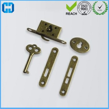 Antique Brass Plated Jewelry Box Lock Set Full Mortise ...