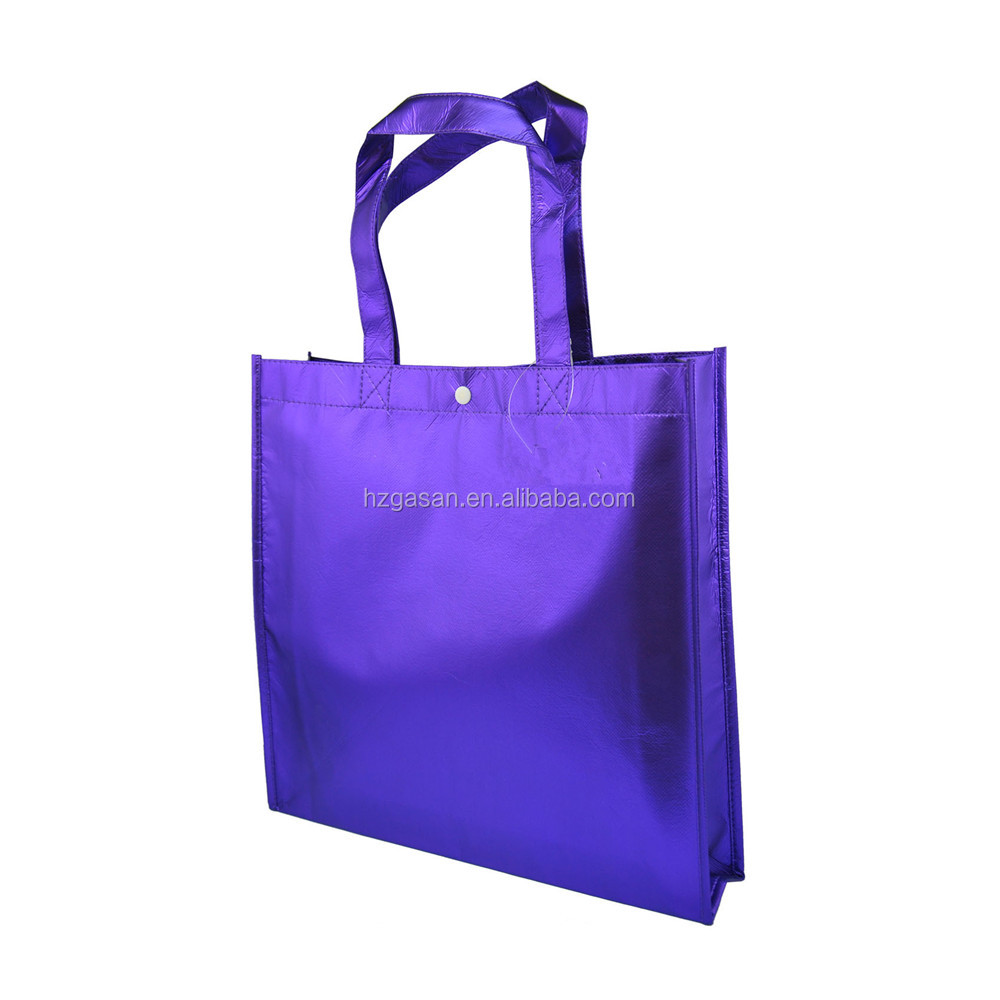 Laser Film Coating 적 층 Metallic Super Market 쇼핑 Garment Tote Bag 비 짠