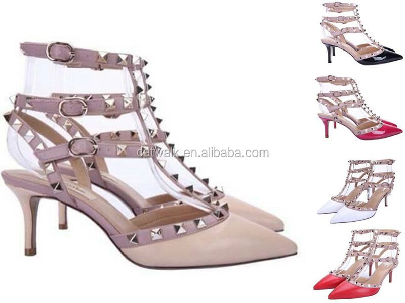 Branded Stud Sling Back Women Heels Shoes Nude Patent Leather T ...