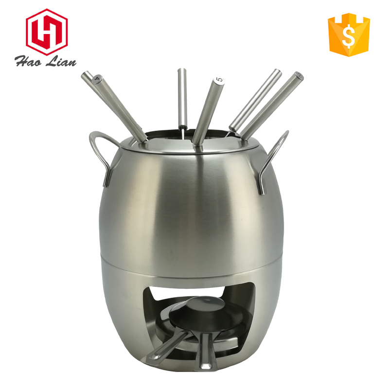 11pcs setsstainless steel alcohol cheese stove fondue sets stew cooking hot pot and pans with fork sets