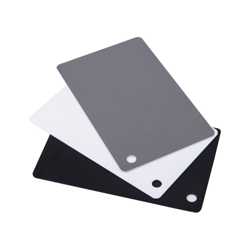 "JJC 2.2"" x 3.4"" PVC White Balance Card Set for Achieving Perfect Color Balance in Digital Photography - Including an 18% Neutral Gray Card, a White Card and a Black Card"