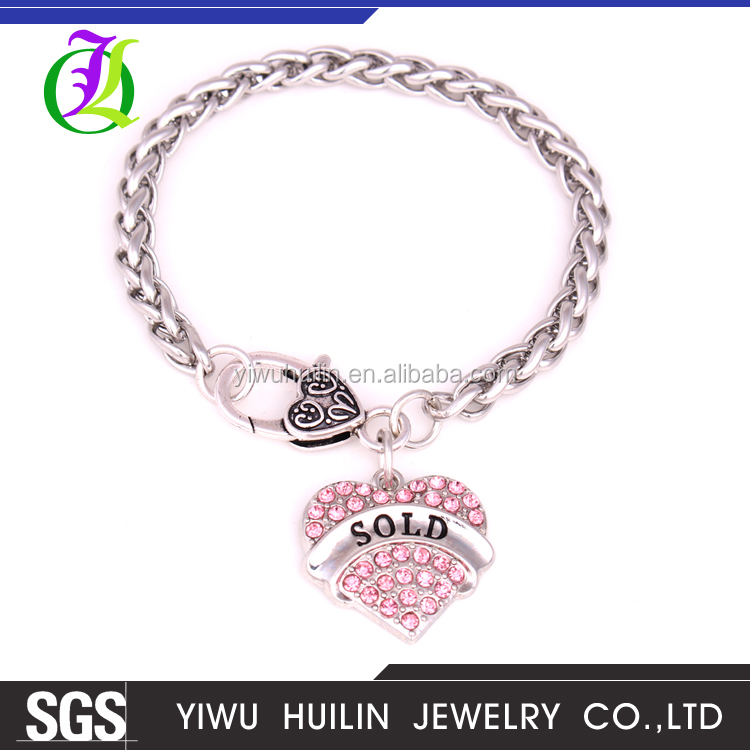 BX700003 Yiwu Huilin Jewelry 6mm Wide Silver Tone Stainless Steel Wheat Link Chain Boys Crystal Heart Sold men Bracelet