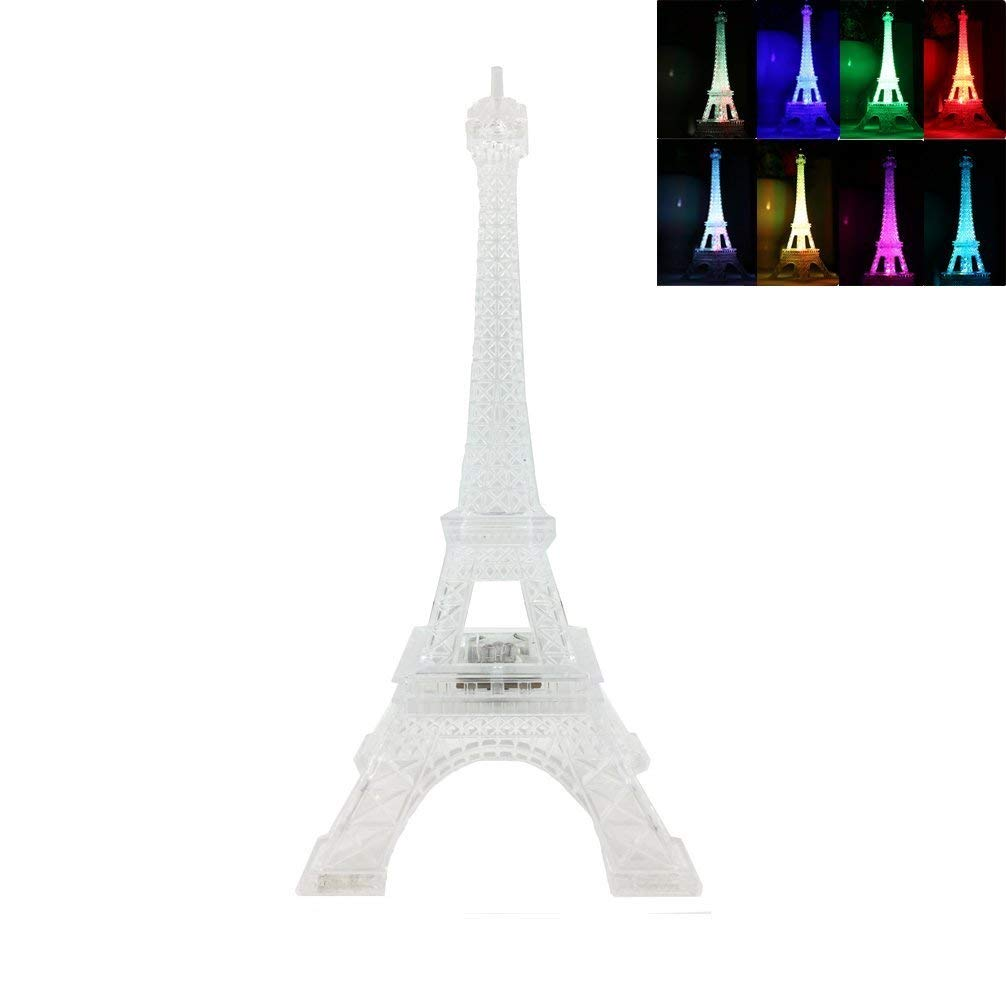 DreamsEden 3 LEDs Light Up Eiffel Tower Lamp - Color Changing Paris Decor for Bedroom Desk Cake Topper Centerpiece, 9.8 Inch Height