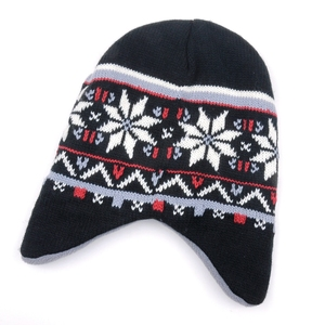 Jacquard earflap polar fleece warm mens knitted winter beanie hat cap for men