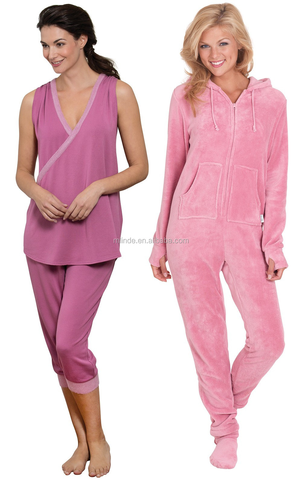 a2925d4a3a Custom Printed Pajamas Lightweight Soft Tank   Capri Lounge Set   Pink  Hoodie-Footie Pajamas Sleepwear Women