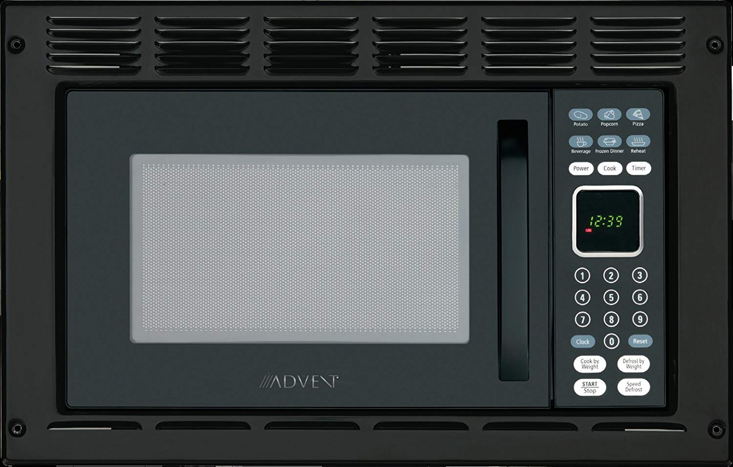 Advent MW912BK Black Built-in Microwave Oven with Trim Kit specially built for RV Recreational Vehicle, Trailer, Camper, Motor Home, Boat etc., 0.9 cu.ft. capacity, 900 watts of cooking power and 10 adjustable power levels let you boil, reheat, defrost and more, 6 pre-programmed one-touch digital
