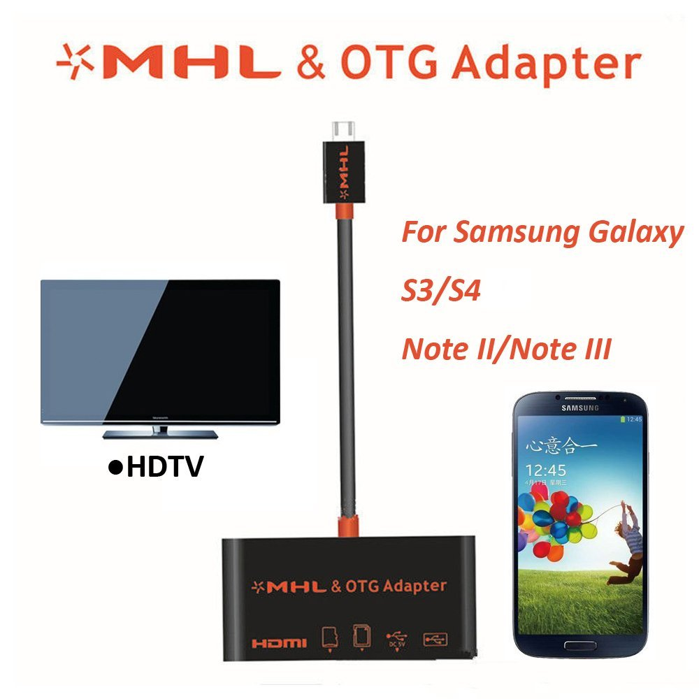 NAMEO MHL & OTG Adapter, Multifunctional MHL to HDMI HDTV Adapter and Micro USB OTG SD Card Reader for Samsung Galaxy S3/S4/Note II/ Note III