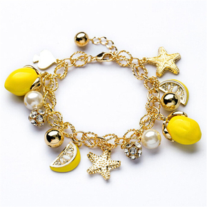 2017 Latest Design Gold Chain Lemon Starfish Pendant Bracelet Fruit Charm Bracelet For Women