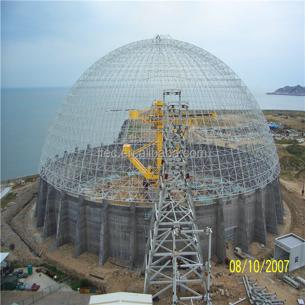 Prefab roof shed steel space frame for coal storage
