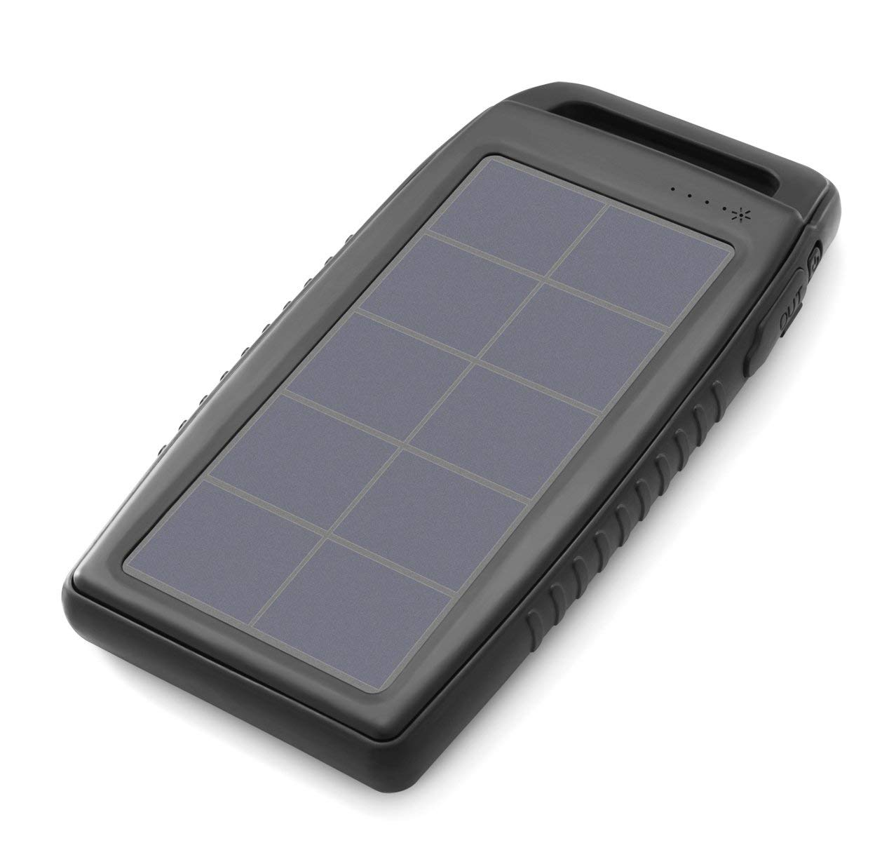 Nekteck 10000mAh Solar Charger Power Bank with Dual USB Ports Portable Charger Battery, High-Efficiency SunPower Solar Panel Rain-Resistant Dirt/Shockproof Backup for All USB Supported Devices, Black