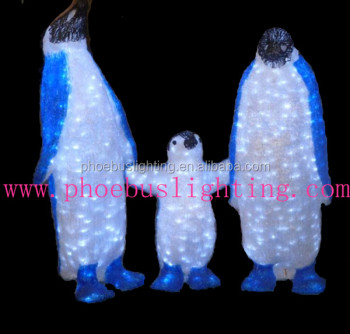 outdoor christmas decorations led 3d figures christmas acrylic penguin with lights