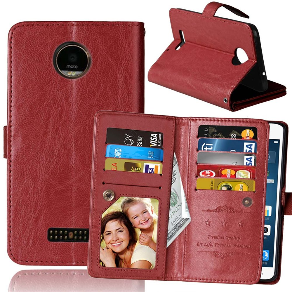 Moto Z / Moto Z Droid Case, VPR Premium PU Leather Wallet Cover with Card Slots & Stand For Moto Z / Moto Z Droid / XT1650 [Does Not work with Moto Z Force Edition, Moto Z Play Edition] (Brown)