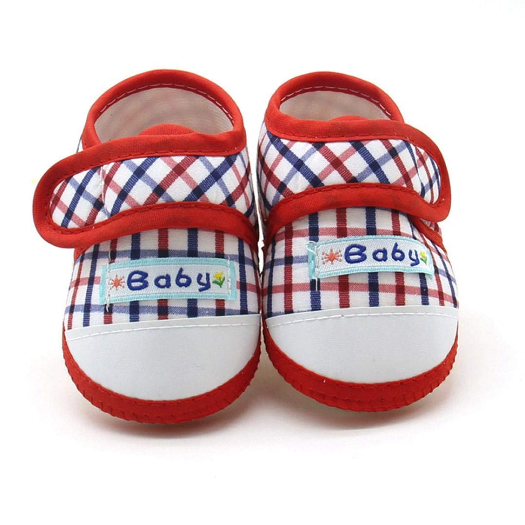 Newborn Infant Baby Boys Girls 3-12 Month Soft Sole Prewalker Warm Casual Flats Shoes Sneakers (Red, US:3)