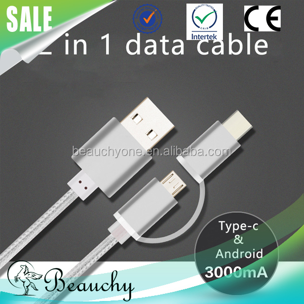 Beauchy micro usb cable, OEM logo printing metal casing micro to usb-c adapter 2 in 1 usb cable for Type-C for android