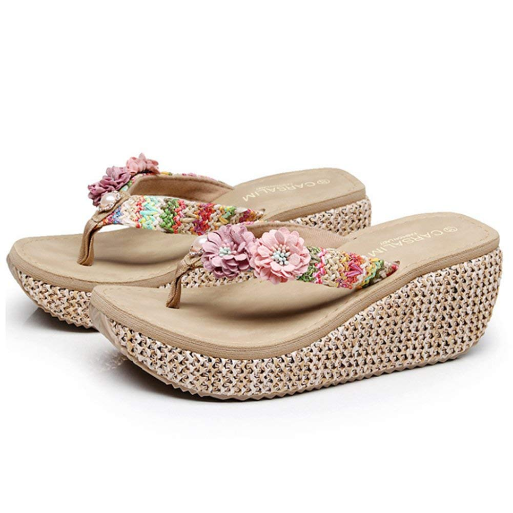 dac9d78282983 Get Quotations · Summer Bohemia Slippers Clip Toes Flip Flops Flower Womens  Wedge Sandals Casual Beach Slippers Platform Wedges