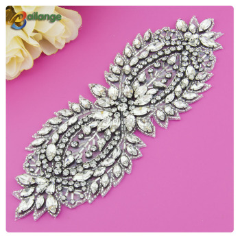 Bailange bling bling design iron on rhinestone trimming applique transfer for dress