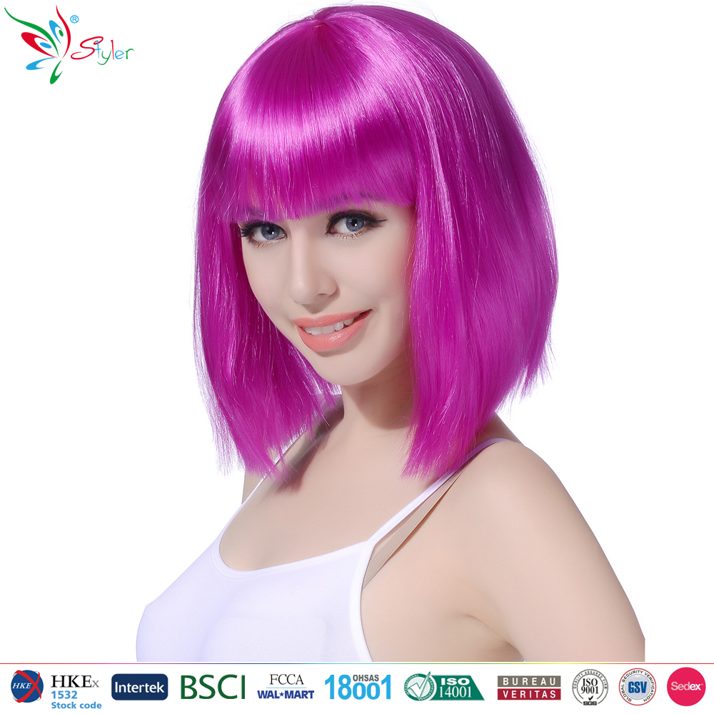2016 Party time wholesale synthetic bob style cheap colorful party wig