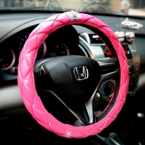 Lovely diamond decorative Pink Leather Car Steering Wheel Cover