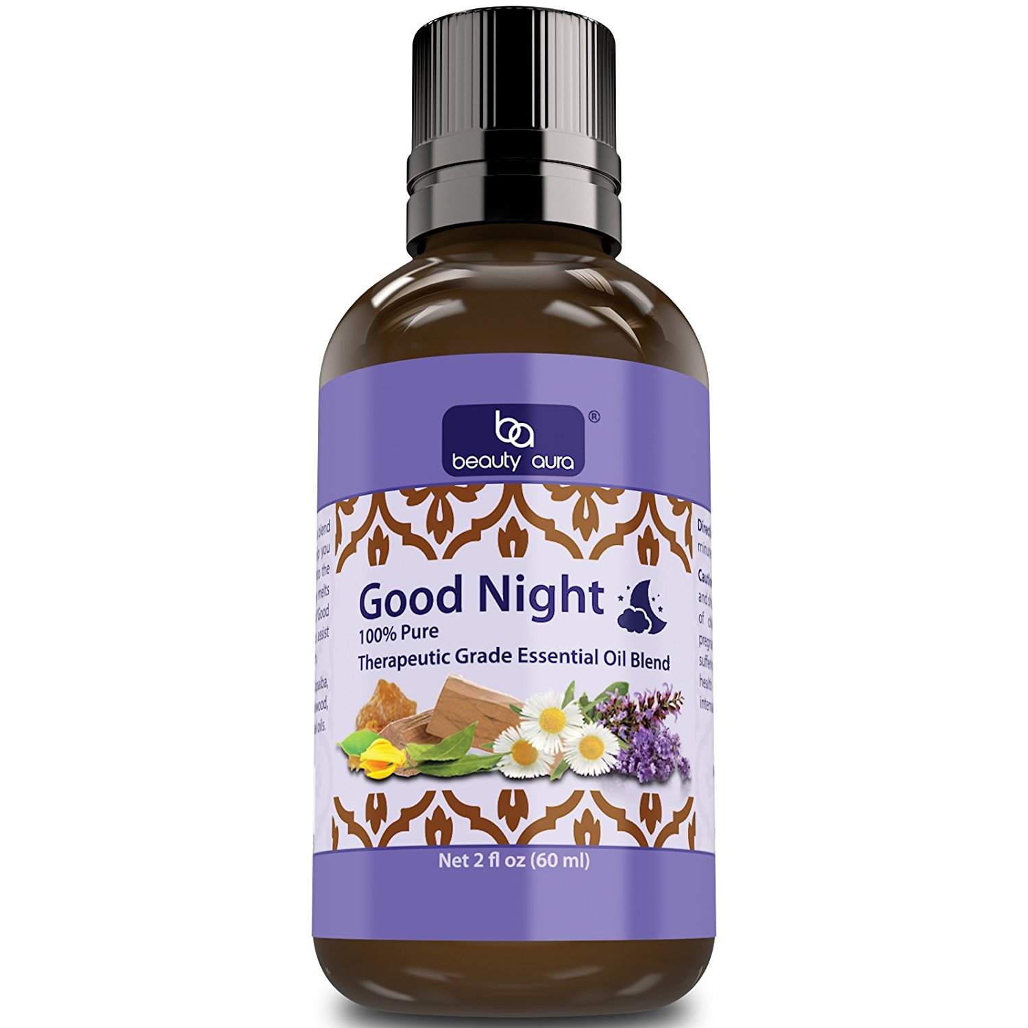 Beauty Aura Good Night Essential Oil Blend (2 Oz) - Carefully picked essential oils blend to promote restful sleep