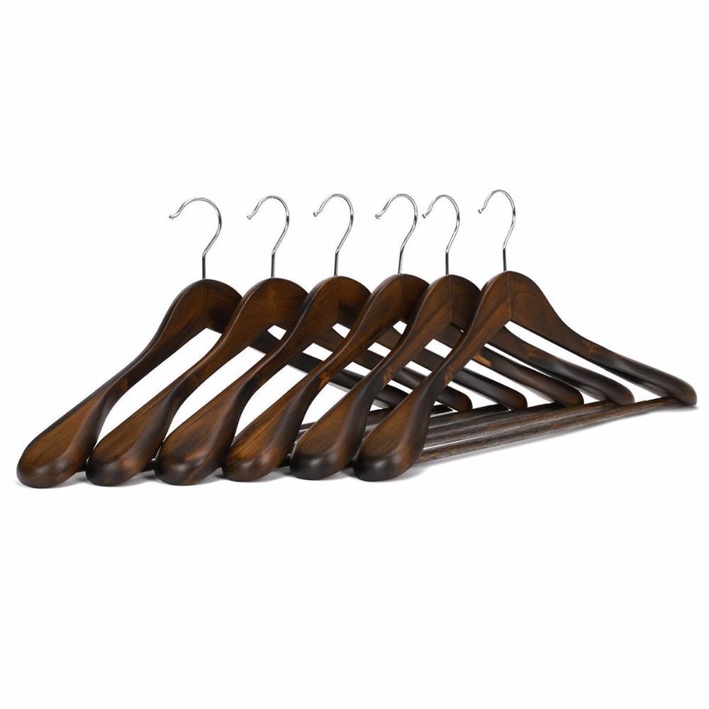 Perchas de madera de calidad superior-color Retro-perchas para abrigos-Juego de perchas retro de madera (paquete de 6) en venta
