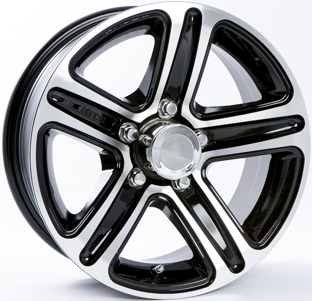 "eCustomRim TWO (2) Aluminum Sendel Trailer Rims Wheels 5 Lug 13"" Pinnacle Black Style"