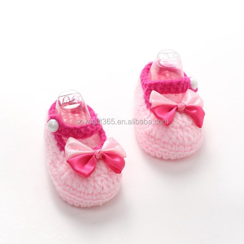Niño Recién Nacido Punto De Ganchillo Zapatos Niñas Arco Zapatos De ...