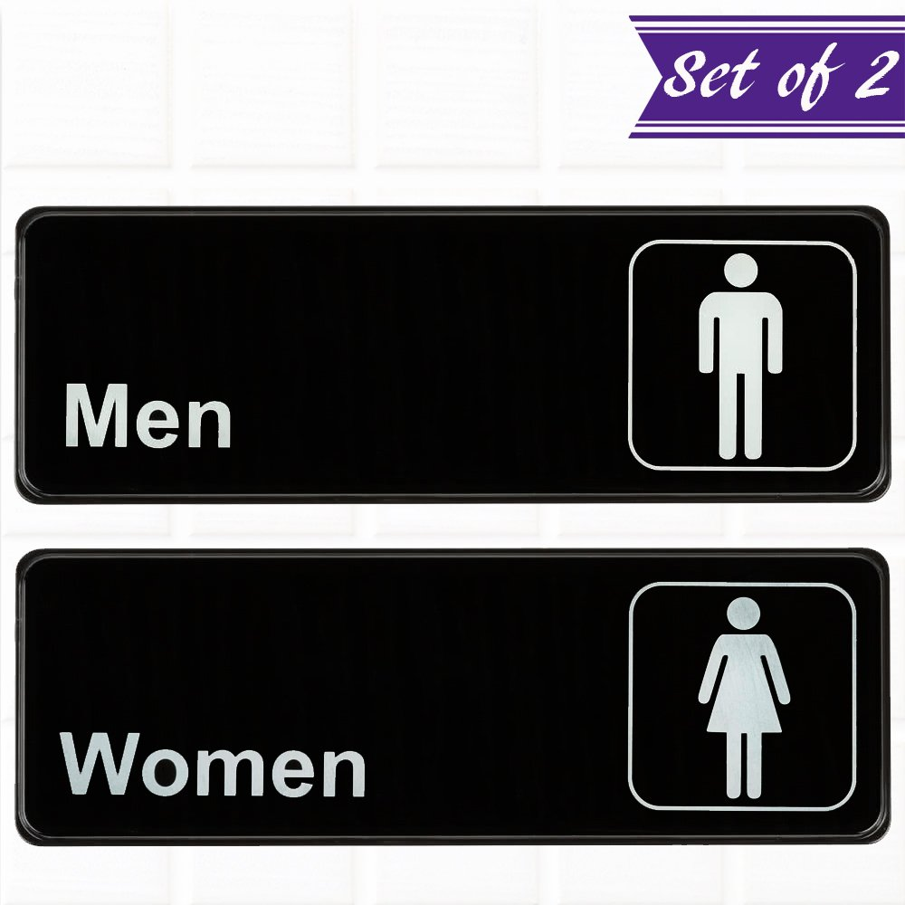 (Set of 2) Restroom Signs, Men's and Women's Restroom Signs - Black and White, 9 x 3-inches Bathroom Signs, Restroom Signs for Door / Wall by Tezzorio