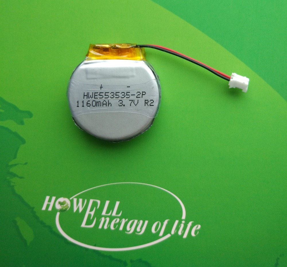 OEM round type 553535 1160mAh 3.7V lipo rechargeable battery for GPS tracking