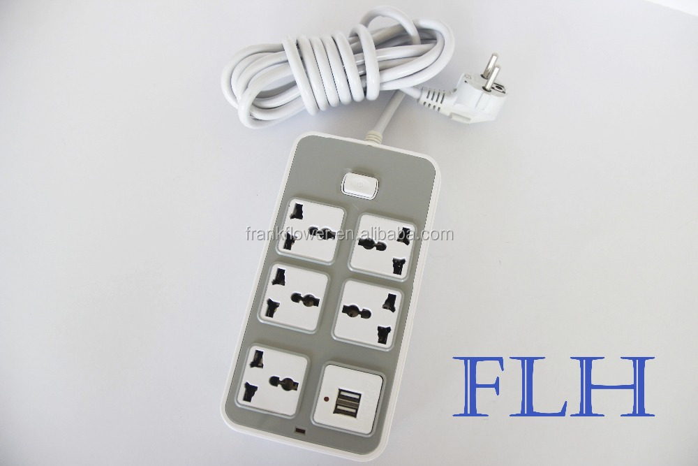 3 pin 6 gang power electrical multi socket extension cord plug