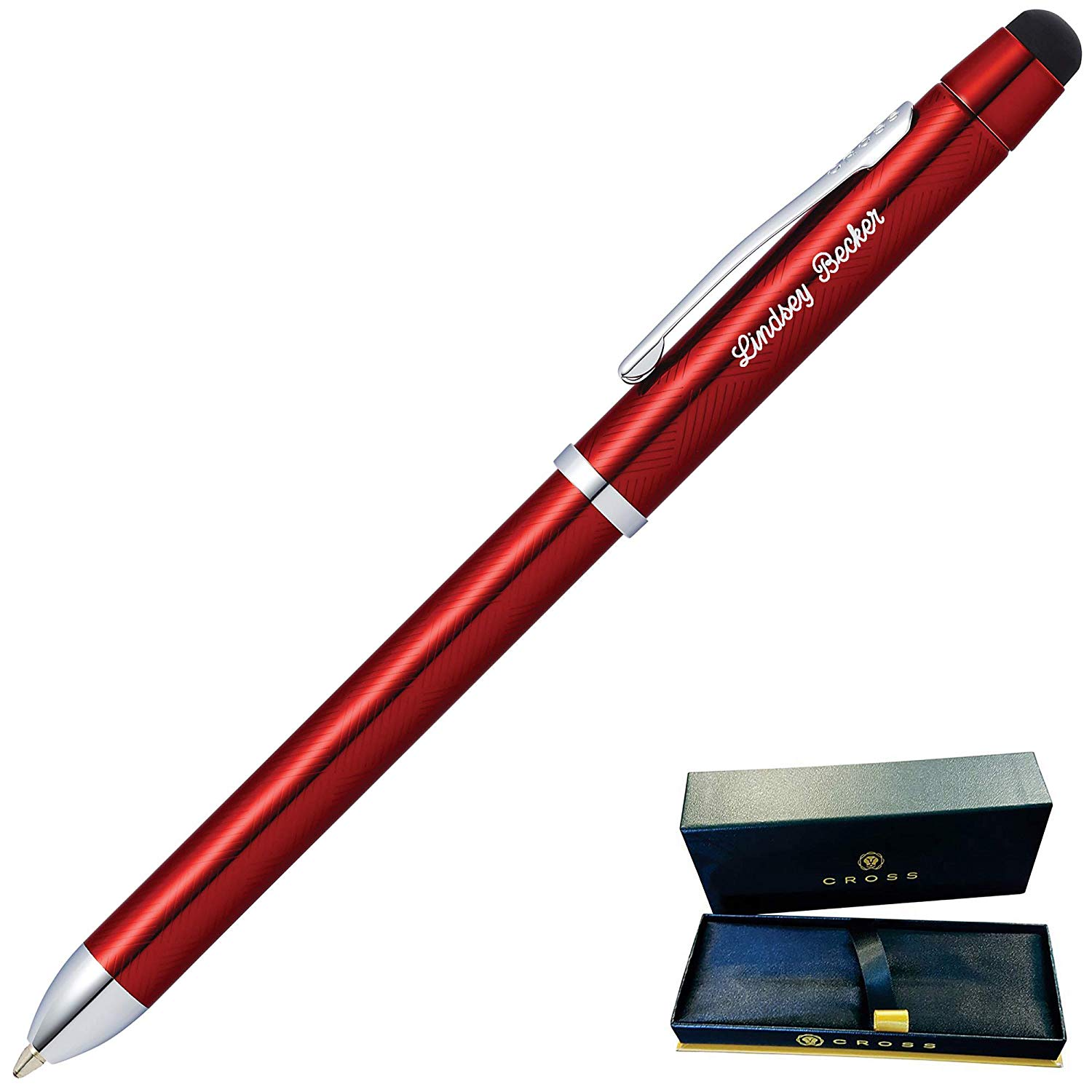 Dayspring Pens - Engraved/Personalized Cross Tech3+ Translucent Red Multifunction Pen. Custom Engraving Included!