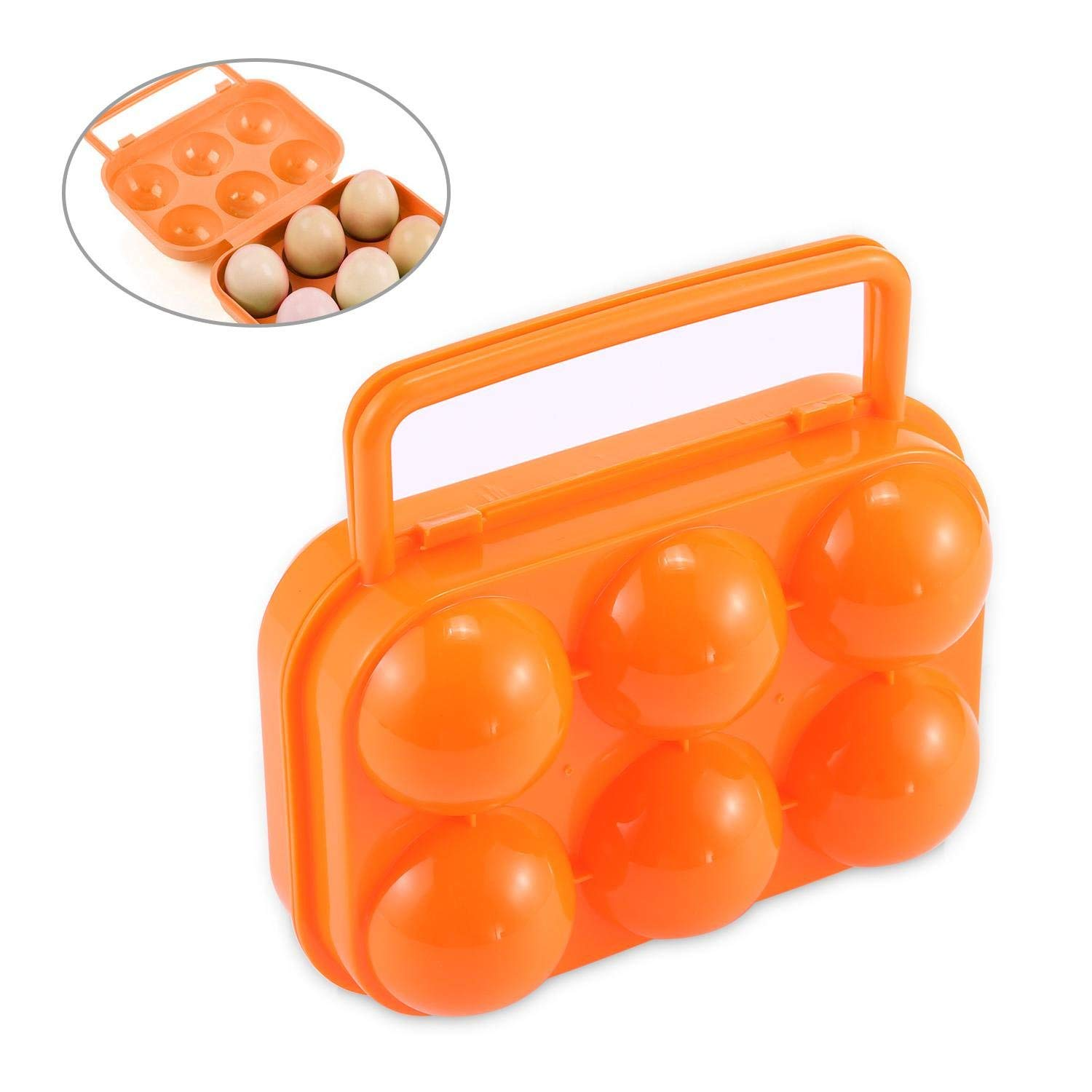 Pawaca Eggs Holder, Egg Tray/Keeper/Storage Box/Carrier/Container/Case 6 Eggs Large Capacity Shockproof Crisper Box Case with Handle for Kitchen Outdoor Picnic