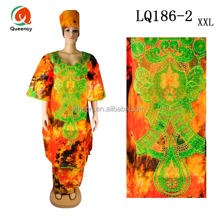 LQ186 Queency African Ghana Style Cotton Colorful Embroidered Bazin Riche Maxi Dress for Girls with Stones